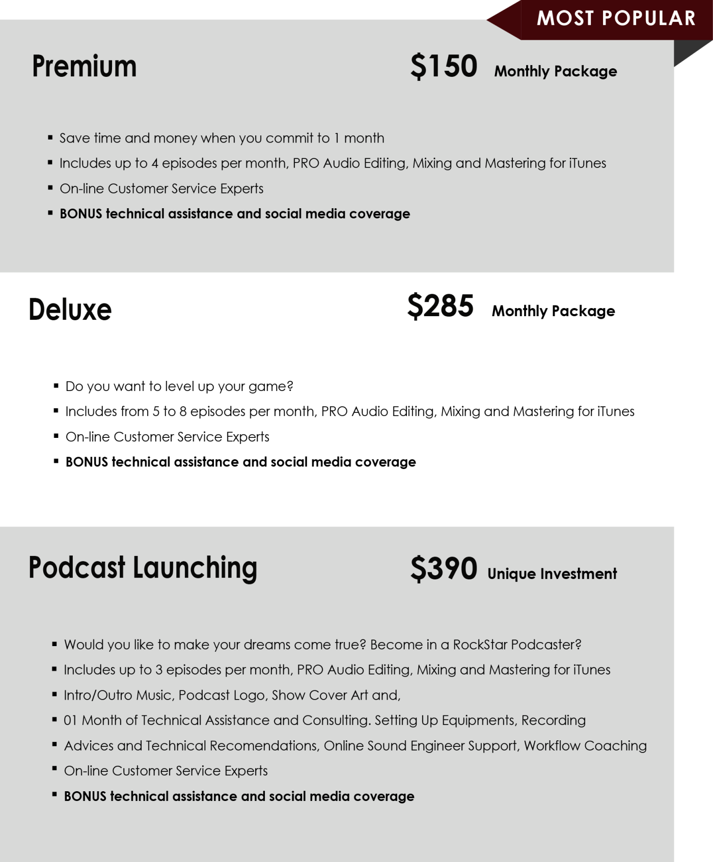 Prices Podcast Packages ultimate 150